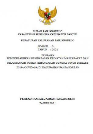 Peraturan Kalurahan Panjangrejo tentang PPKM tahun 2021