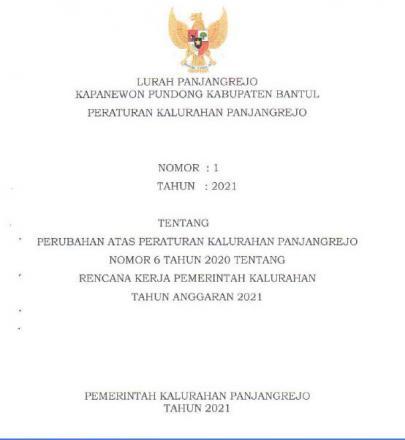 Peraturan Kalurahan No 1 Tahun 2021 tentang Perubahan Atas Peraturan Kalurahan Panjangrejo